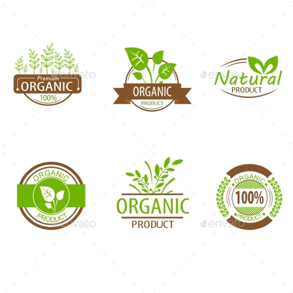 Round Eco Green Stamp Labels - Food Objects