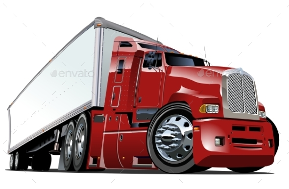 Cartoon Semi Truck - Man-made Objects Objects