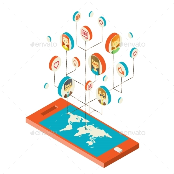 Conceptual Image with Social Networks - Communications Technology