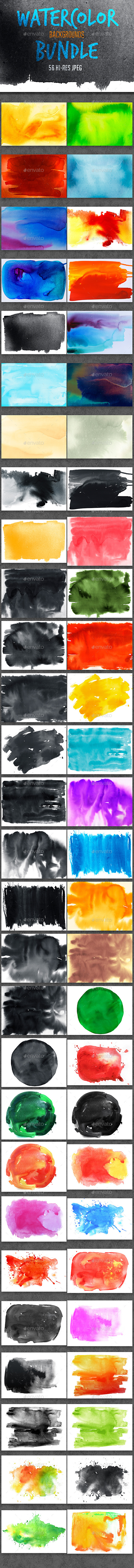 Watercolor Backgrounds Bundle - Backgrounds Graphics
