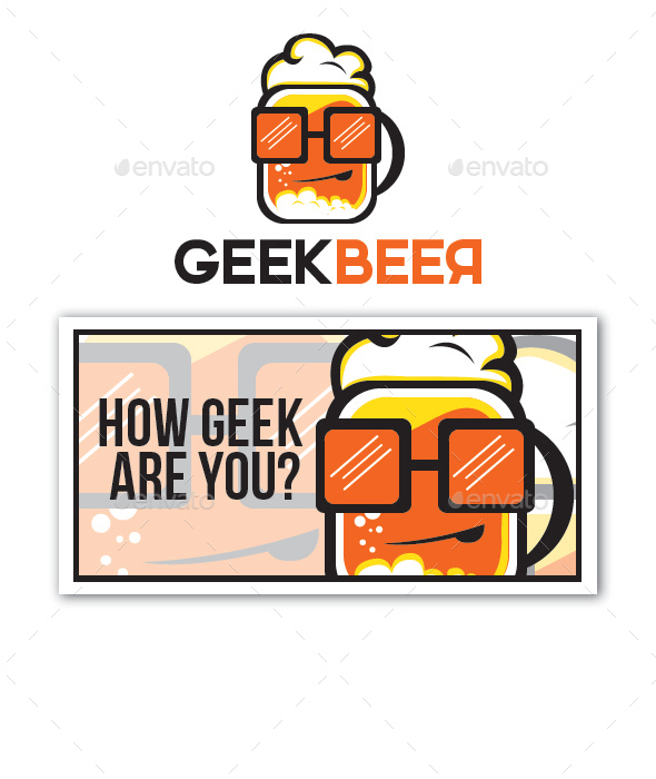 Geek Beer  - Food Logo Templates
