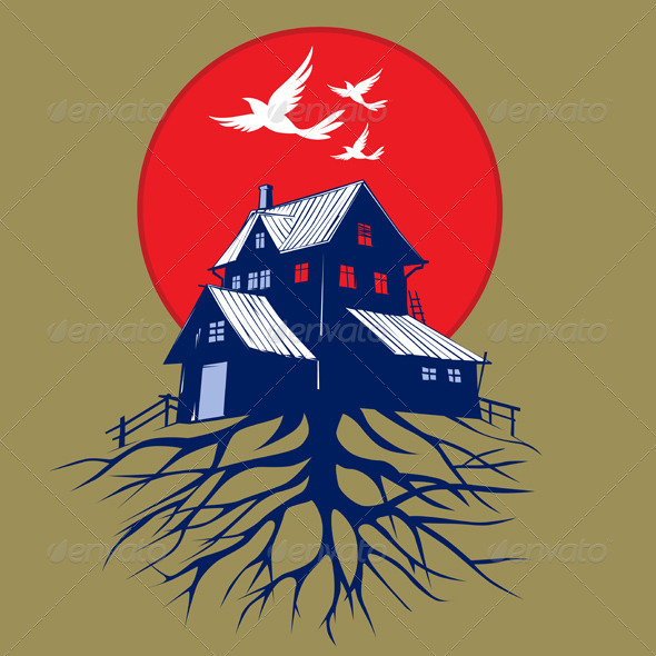Cartoon Scare Dark House Roots - Buildings Objects