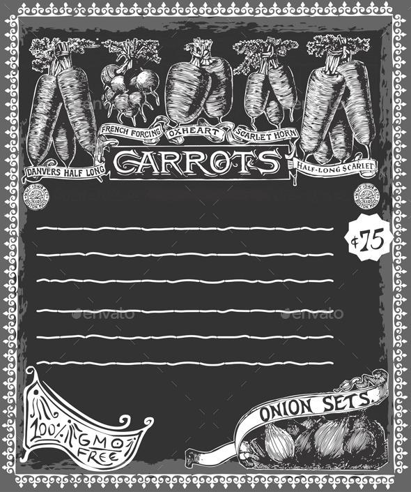 Greengrocer - Vintage Carrots Chalkboard - Backgrounds Decorative