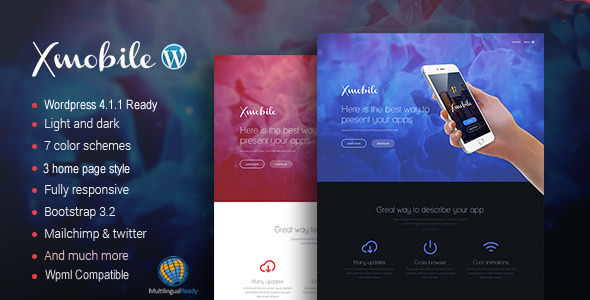 Xmobile – Landing Page WordPress Theme