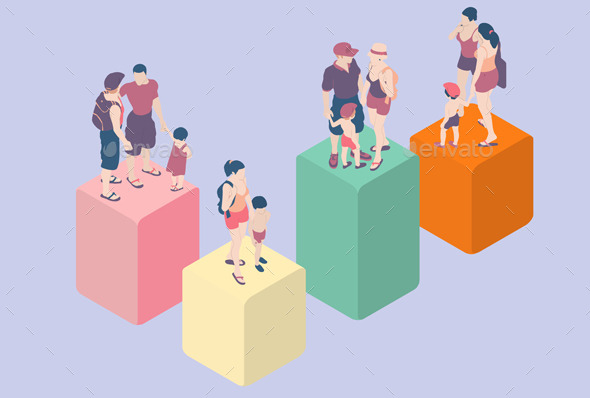 Isometric Infographic Family Types - People Characters