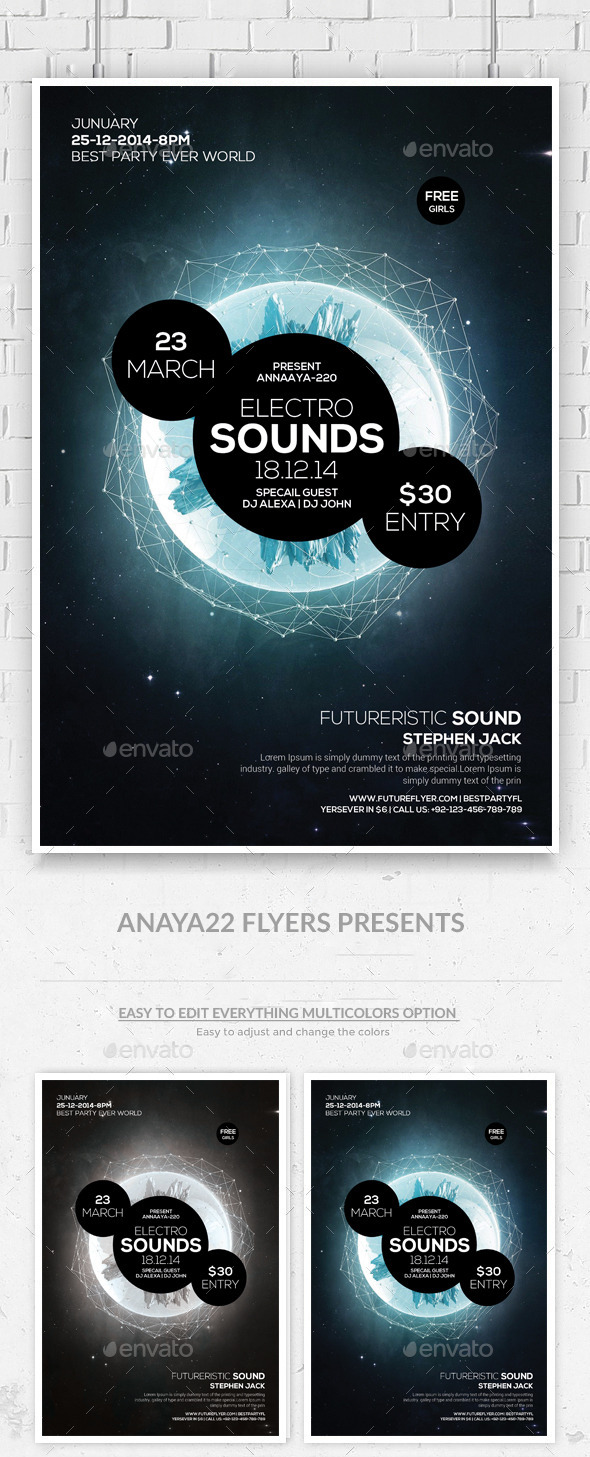 Electro Space Sound Futuristic Flyer Templates - Clubs & Parties Events