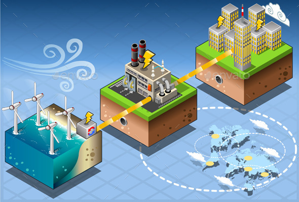 Isometric Infographic Offshore Windmill - Buildings Objects