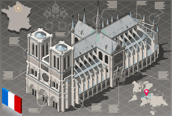 Isometric Infographic Notre Dame de Paris - Buildings Objects