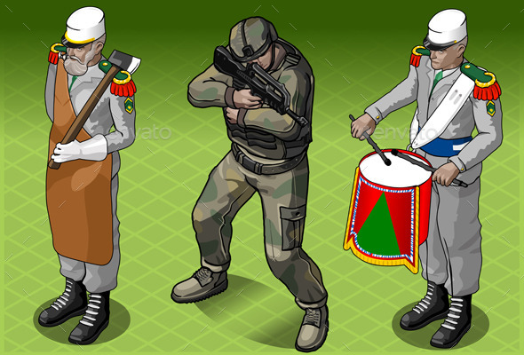 Isometric Foreign Legion Militar People - People Characters