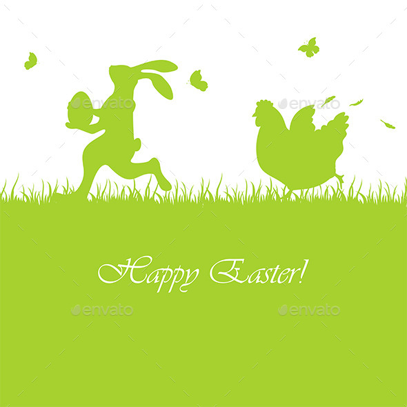 Easter Background with Rabbit and Hen - Animals Characters