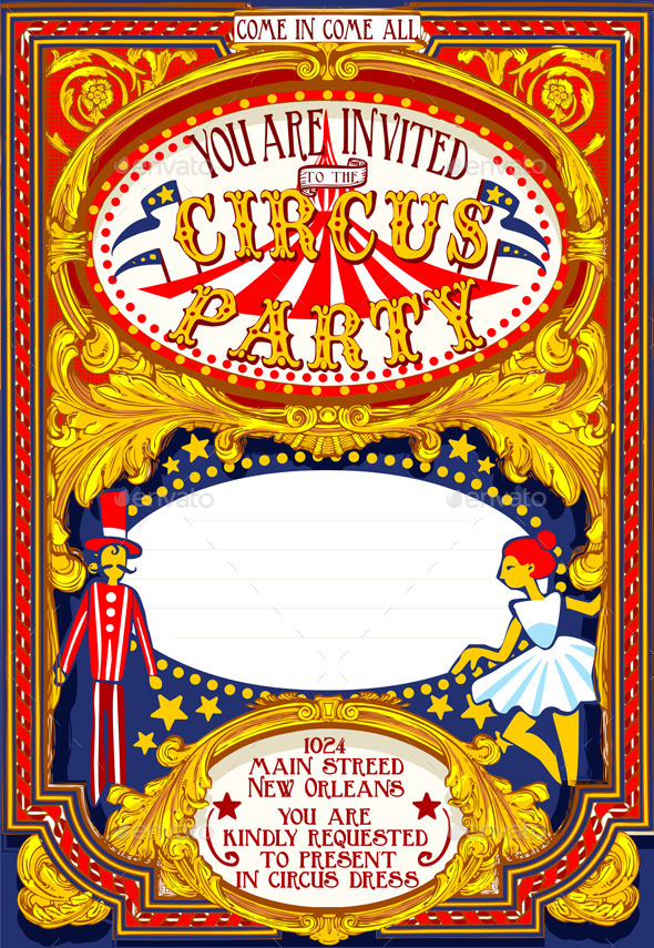 Poster Invite for Circus Party Carnival - Miscellaneous Vectors