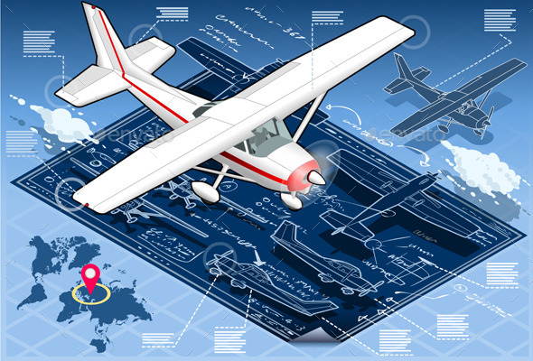 Isometric Infographic Airplane Blue Print - Man-made Objects Objects