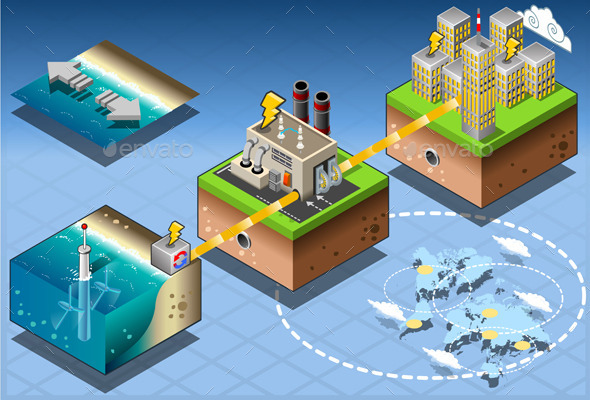 Isometric Infographic Underwater Turbines - Buildings Objects