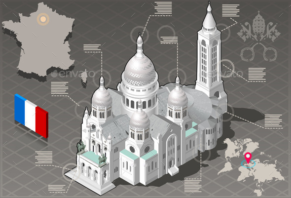 Isometric Infographic Sacre Coeur Montmartre Paris - Buildings Objects