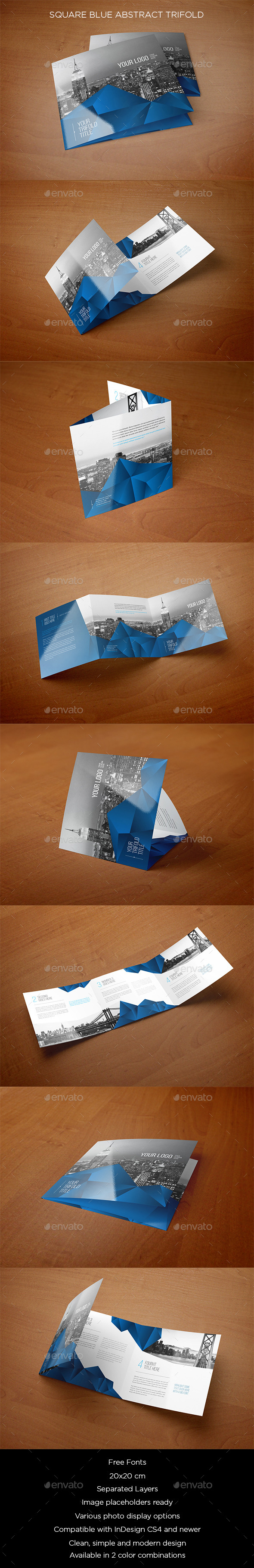 Square Blue Abstract Trifold - Brochures Print Templates