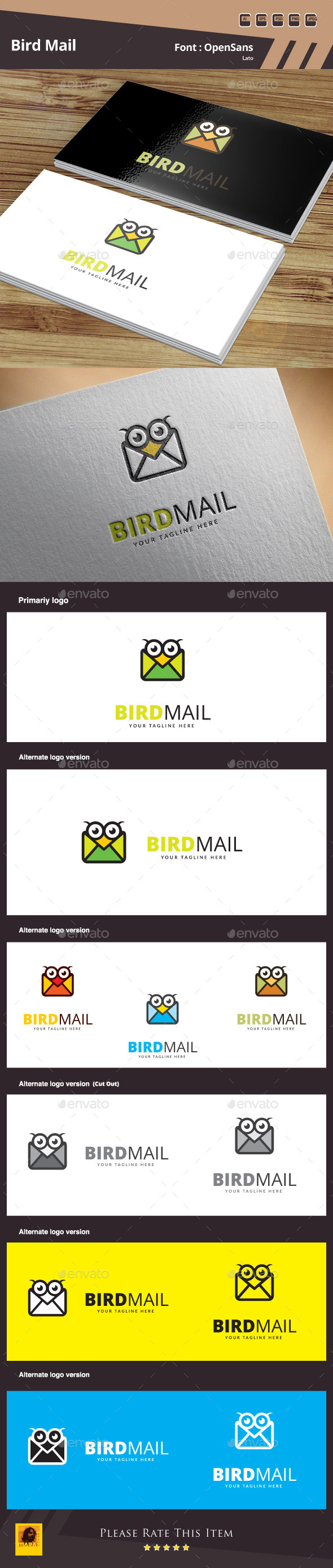 Bird Mail Logo Template - Animals Logo Templates