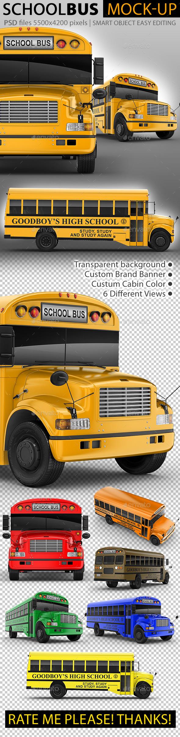 School Bus Mock-Up. 3d Schoolbus - Vehicle Wraps Print
