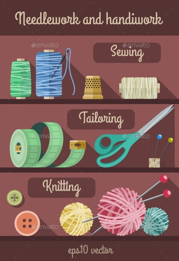 Set of Tools and Materials for Fancywork and Needlework - Man-made Objects Objects