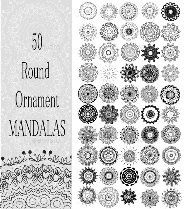 Set of 50 Ornaments  - Flowers & Plants Nature