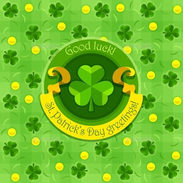 Shamrock Symbol For Saint Patricks Day with Ribbon - Miscellaneous Seasons/Holidays