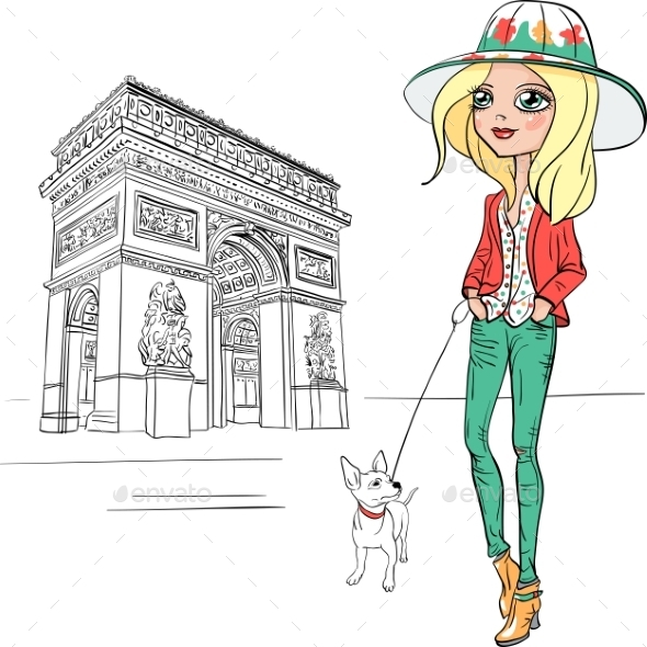 Fashion Girl in Paris  - People Characters