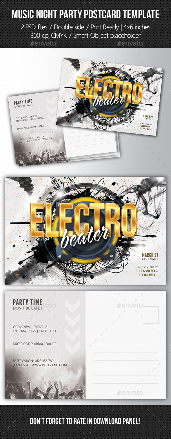 Music Night Party Postcard Template V05 - Cards & Invites Print Templates