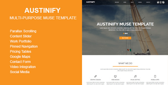 Austinify - Multi-purpose Muse Template - Corporate Muse Templates