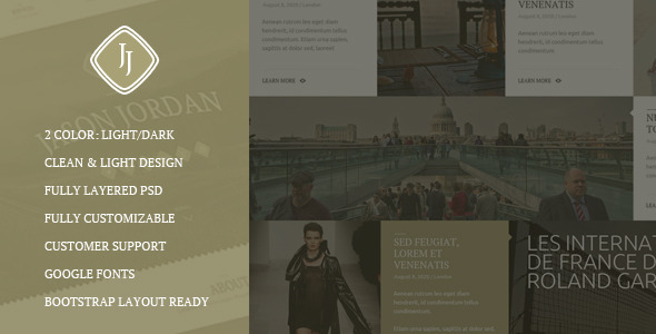 JJ –  One Page Multi Purpose Portfolio PSD Theme