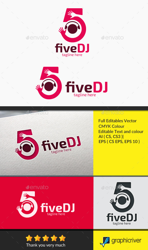 fiveDJ - Numbers Logo Templates