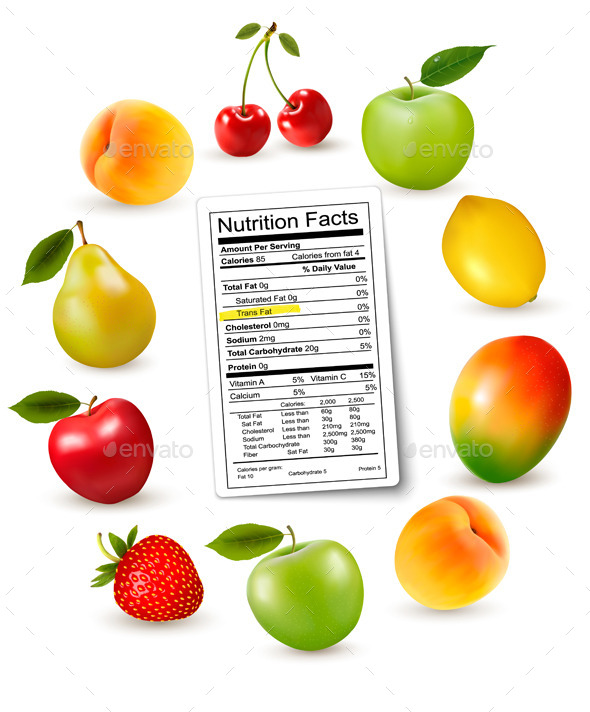 Fresh Fruit with a Nutrition Facts Label - Food Objects