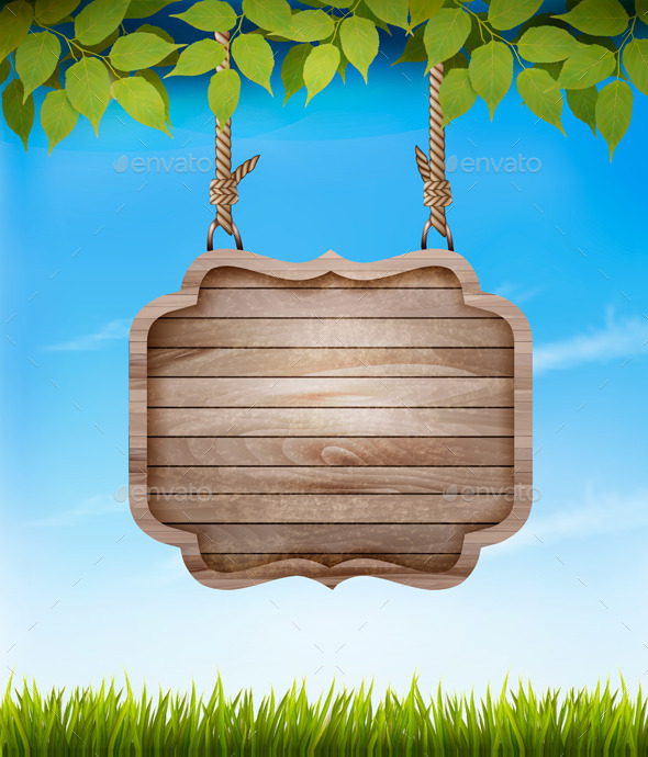 Natural Background with Leaves and a Wooden Sign - Nature Conceptual
