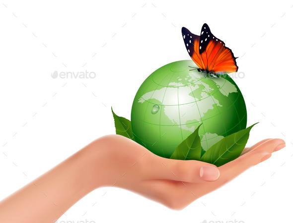 Green World with Leaf and Butterfly in Woman Hand - Nature Conceptual