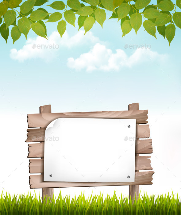 Natural Background with Wooden Board  - Borders Decorative