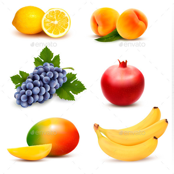 Big Group of Different Fruit. Vector.  - Food Objects