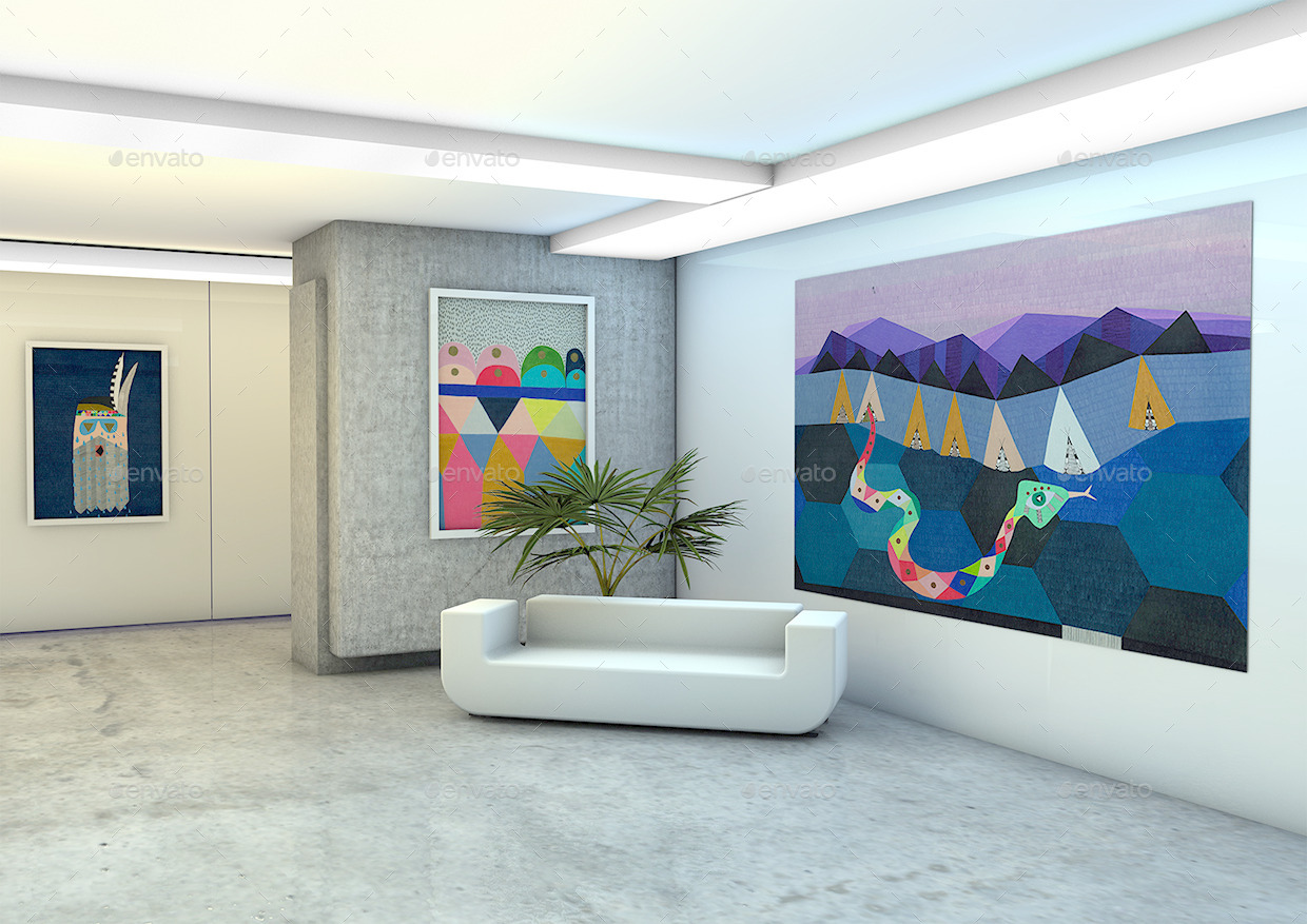 Office studio art gallery photography mock up by mock Art gallery interior design