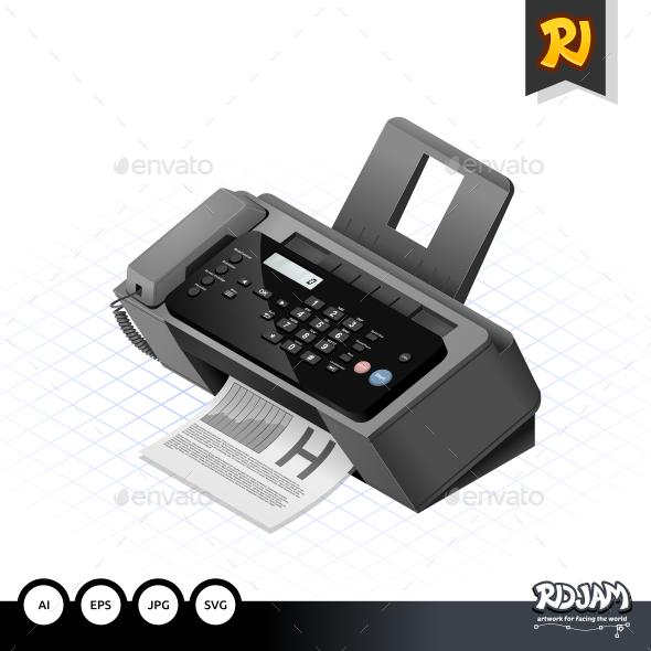 Isometric Fax Machine - Communications Technology