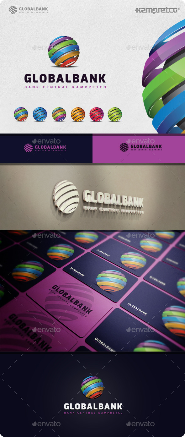 Global Bank Logo - 3d Abstract