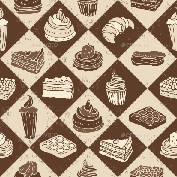 Cakes Seamless Pattern - Patterns Decorative