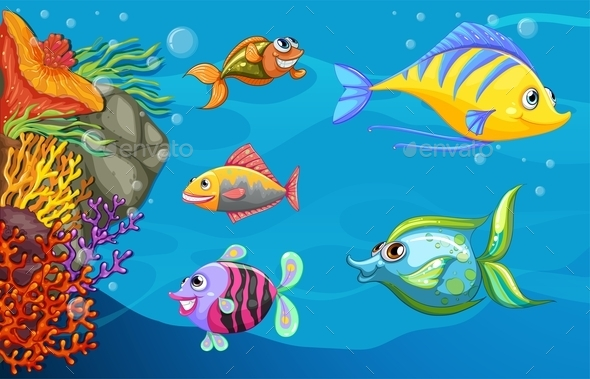 A School of Fish Under the Sea - Animals Characters