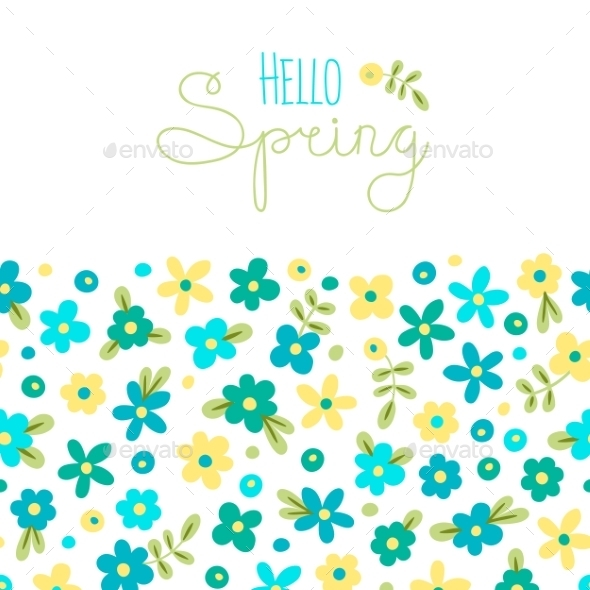 Spring with Flowers Card - Seasons/Holidays Conceptual