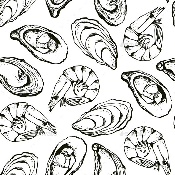 Seafood Pattern - Food Objects