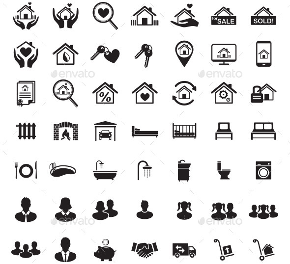 Real Estate Icon Set, Family Symbols, Vector - Business Icons