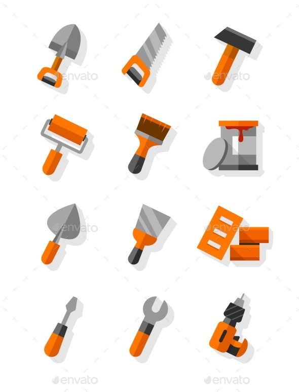 Working Tools For Construction and Maintenance - Web Elements Vectors
