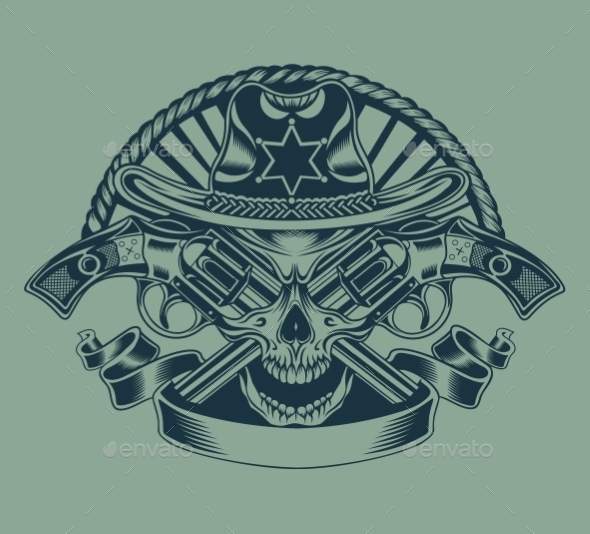 Illustration of Sheriff's Skull. - Objects Vectors