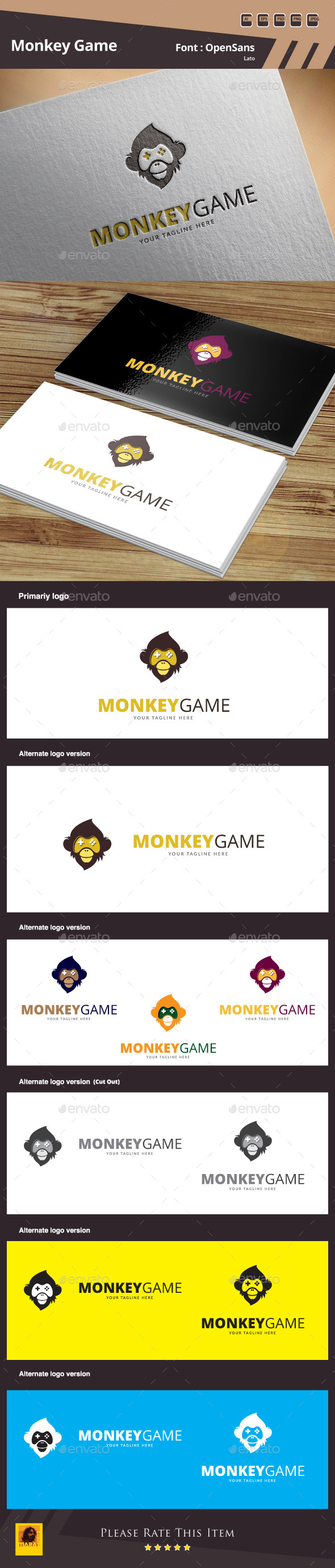Monkey Game Logo Template - Animals Logo Templates
