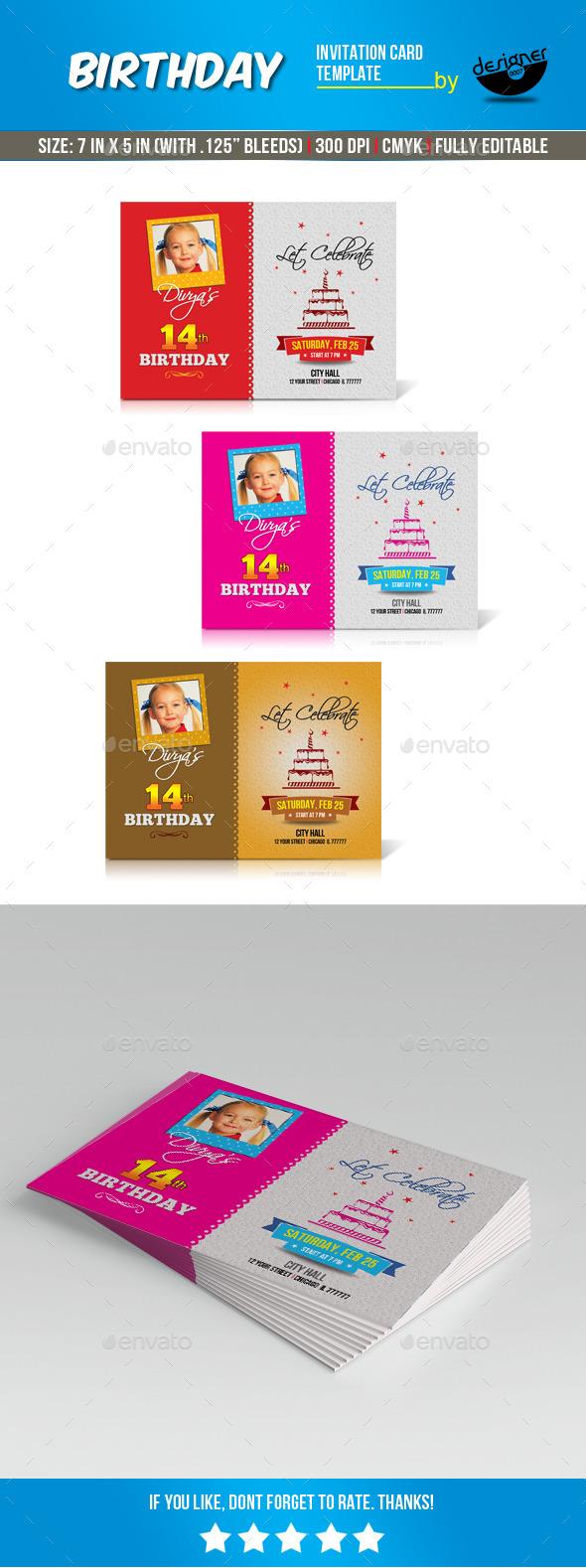Birthday Invitation Card Template - Print Templates