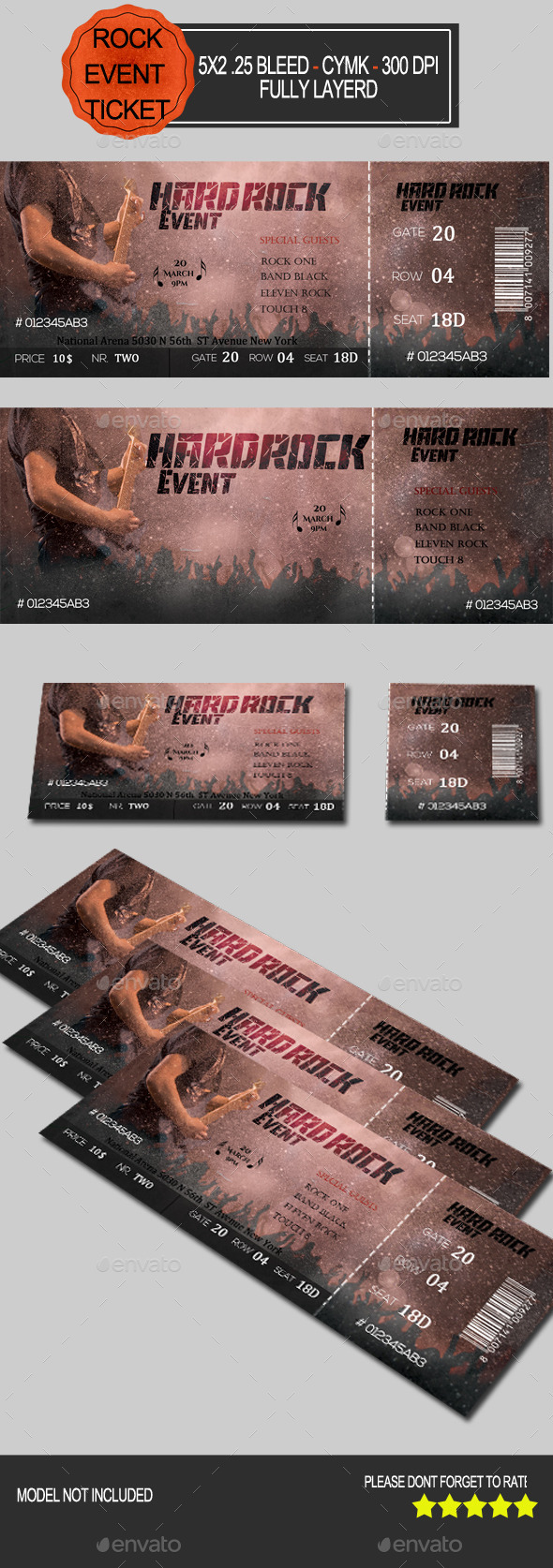 Hard Rock Event Ticket - Miscellaneous Print Templates