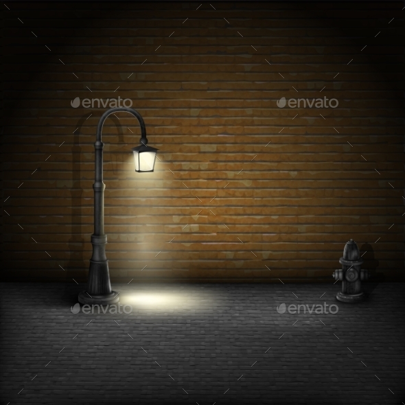 Vintage Streetlamp on Brick Wall Background - Backgrounds Decorative