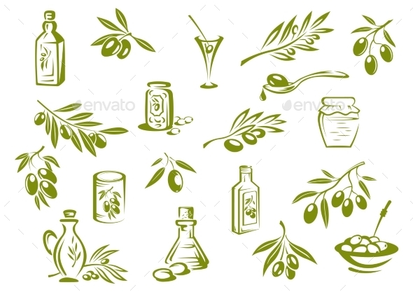 Olive Oil Symbols  - Food Objects