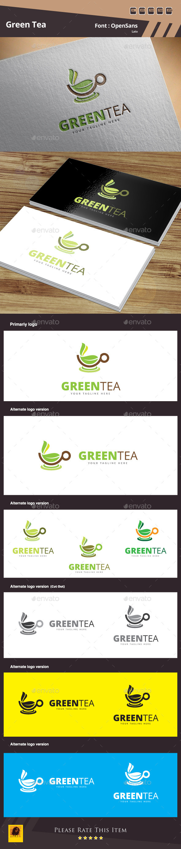 Green Tea Logo Template - Food Logo Templates